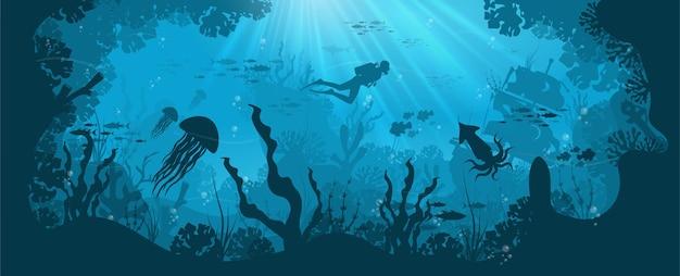 Silhueta de recife de coral com peixes e mergulhador em um fundo azul do mar