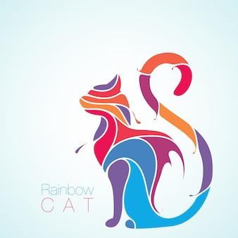 Silhueta de respingo de gato arco-íris