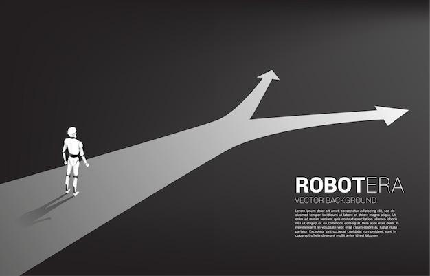 Silhueta de robô em pé na encruzilhada.