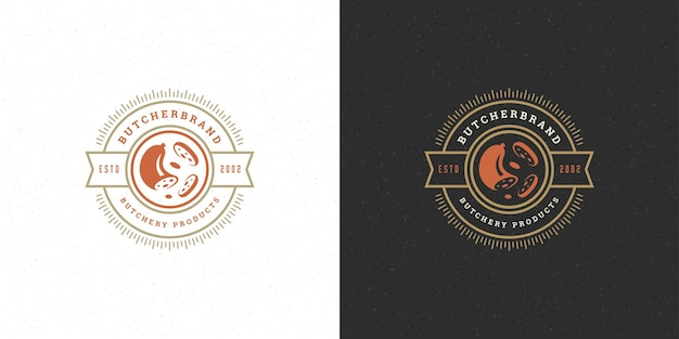 Silhueta de salsicha de design de logotipo de açougue bom para o mercado distintivo