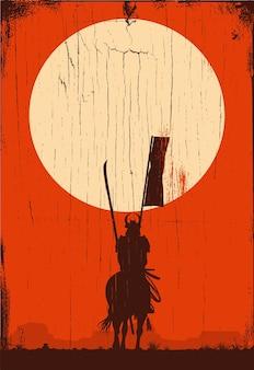 Silhueta de samurai cavalgando no campo em uma placa de madeira, vetor