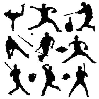 Silhueta de símbolo de clipart de pessoas do esporte de beisebol