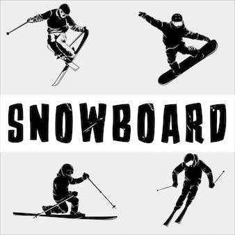 Silhueta de snowboard