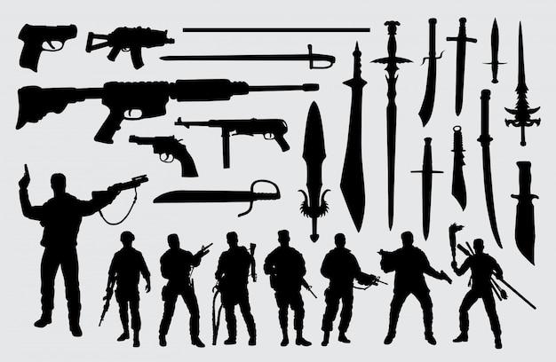 Silhueta de soldado, arma e espada
