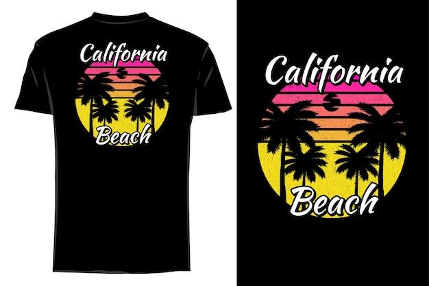 Silhueta de t-shirt de maquete califórnia praia retro vintage