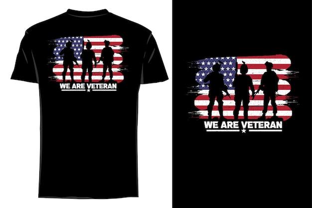 Silhueta de t-shirt de maquete somos veteranos retro vintage