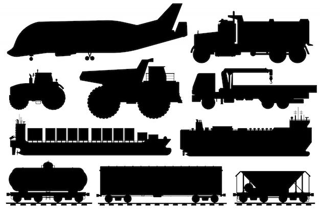 Silhueta de transporte de mercadorias. ícone de veículo de transporte de carga. aeronaves industriais isoladas, despejo, caminhão guindaste, navio, coleção de ícones plana de transporte de carro de frete. transporte, conceito de serviço de entrega