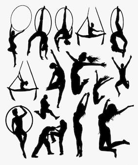 Silhueta de treinamento. bom uso para símbolo, logotipo, ícone da web, mascote, adesivo