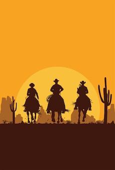 Silhueta de três vaqueiros cavalgando no fundo do deserto.