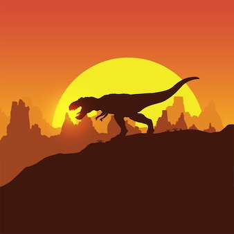 Silhueta de trex de dinossauros caminhando ao pôr do sol
