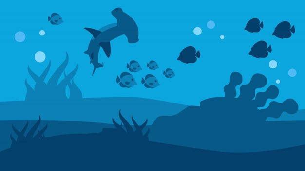 Silhueta de tubarão martelo e peixe seascape banner