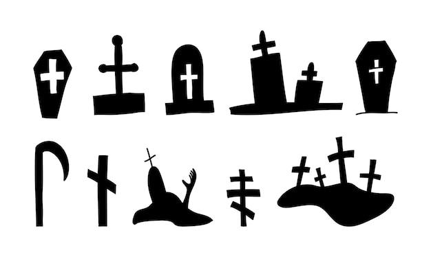 Silhueta de túmulos de caixões de vetor de halloween em estilo doodle