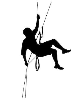 Silhueta de um alpinista. esportes e lazer, ilustração em vetor editável da silhueta do alpinista.