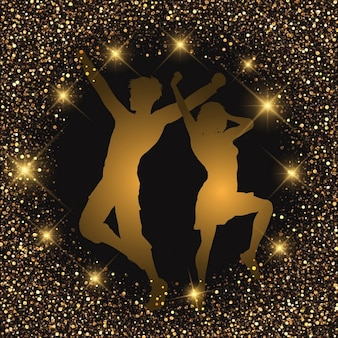 Silhueta de um casal dançando sobre um fundo brilhante