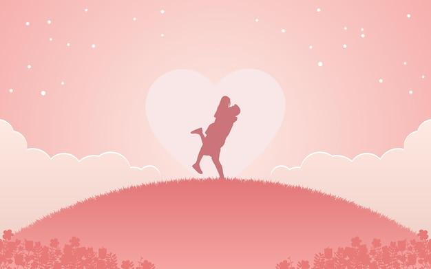 Silhueta de um casal, homem levantando uma mulher no braço sob a forma de um coração e estrelas