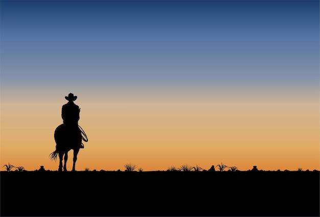 Silhueta de um cowboy cavalgando ao pôr do sol, vetor