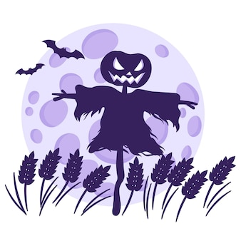 Silhueta de um espantalho de halloween em um campo de trigo no contexto de uma lua cheia e morcegos.