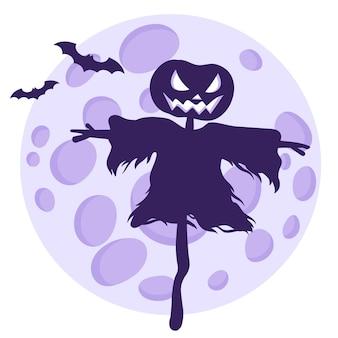 Silhueta de um espantalho de halloween em um fundo de lua cheia e morcegos.