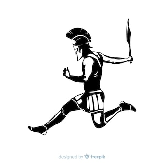 Silhueta de um guerreiro espartano