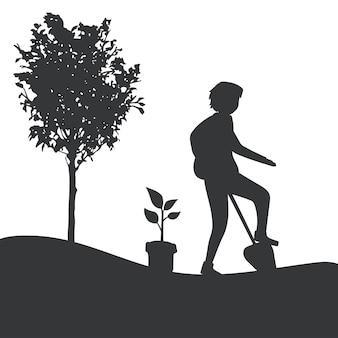 Silhueta de um homem jardinagem vector