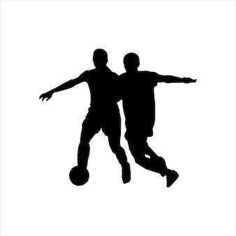 Silhueta de um jogador de futebol com uma bola atleta estêncil preto ícone logotipo do jogador de futebol