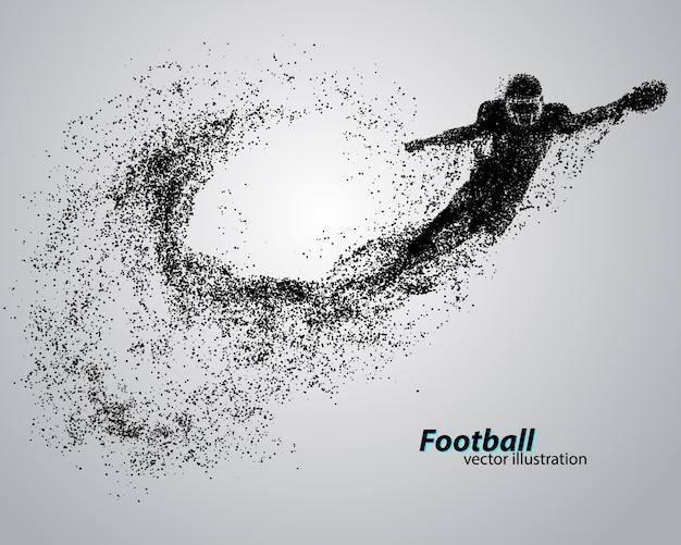 Silhueta de um jogador de futebol de partícula. rugby. jogador de futebol americano
