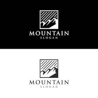 Silhueta de um logotipo exclusivo da montanha