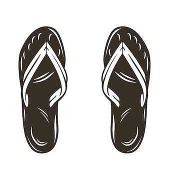 Silhueta de um par de chinelos de surf de verão na praia