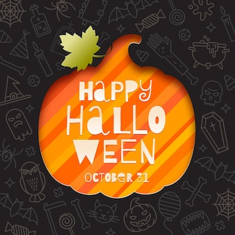 Silhueta de um recorte de abóbora em papel em um fundo com sinais e símbolos lineares de halloween