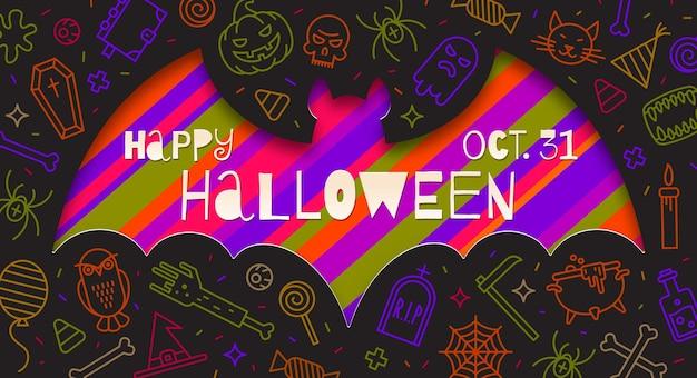 Silhueta de um recorte de morcego em papel em um fundo com sinais e símbolos lineares de halloween