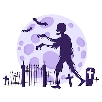 Silhueta de um zumbi em um cemitério no contexto de uma lua cheia e morcegos.
