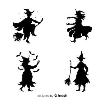 Silhueta de uma bruxa de halloween