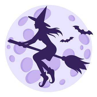 Silhueta de uma bruxa voando em uma vassoura e morcegos no fundo de uma lua cheia.