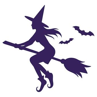 Silhueta de uma bruxa voando em uma vassoura e morcegos.