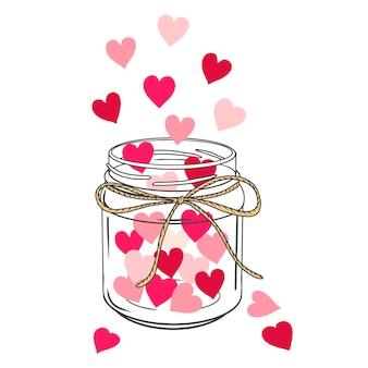 Silhueta de uma jarra de vidro com corações. colorido e preto. objeto desenhado de mão. estilo doodle. isolado no branco. Vetor Premium