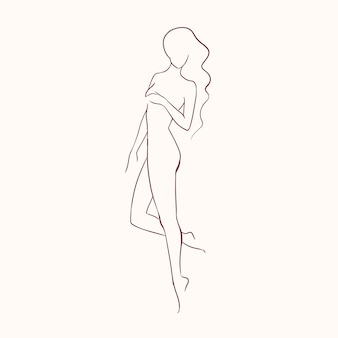 Silhueta de uma jovem mulher bonita de cabelo comprido nua com uma figura esbelta, mão desenhada com linhas de contorno.