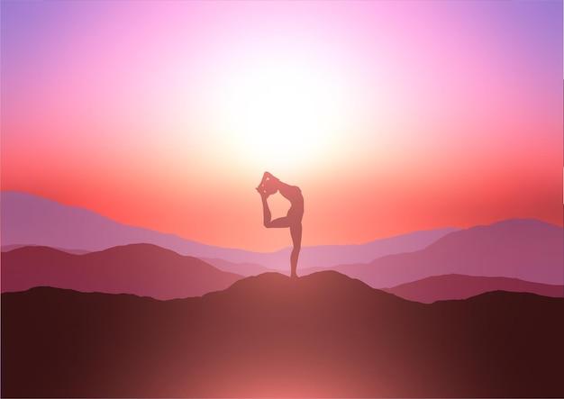 Silhueta de uma mulher em uma pose de ioga em uma colina contra um céu ao pôr do sol