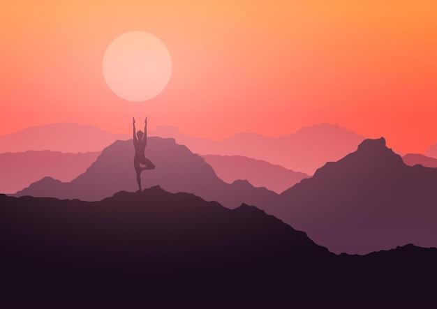Silhueta de uma mulher em uma pose de ioga em uma paisagem montanhosa ao pôr do sol
