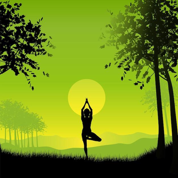 Silhueta de uma mulher em uma pose de ioga sob um céu ao pôr do sol