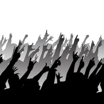 Silhueta de uma multidão de rock