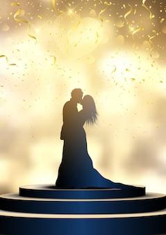 Silhueta de uma noiva e o noivo em um pódio iluminado com confetes, dia do casamento
