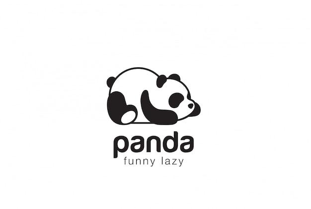 Silhueta de urso panda modelo de design de logotipo. ícone do conceito engraçado animal preguiçoso logotipo.