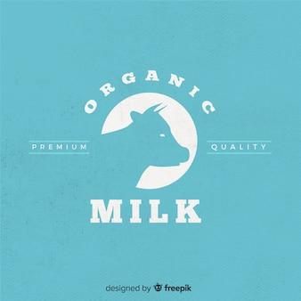 Silhueta de vaca de leite orgânico logotipo