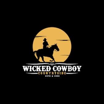 Silhueta de vaqueiro que monta a cavalo no pôr do sol sunmoon ilustração do logotipo