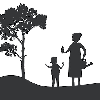 Silhueta de vetor de jardinagem mãe e filho