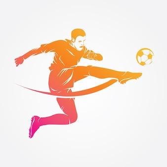 Silhueta de vetor de logotipo de jogador de futebol