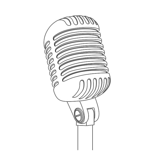 Silhueta de vetor de microfone de concerto