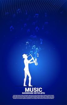 Silhueta de vetor de saxofonista com fluxo de dança de nota de melodia de música. fundo de conceito para concerto de música clássica e recreação.