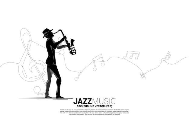 Silhueta de vetor de saxofonista com nota de melodia de música de linha única. fundo de conceito para música jazz e tema de concerto.