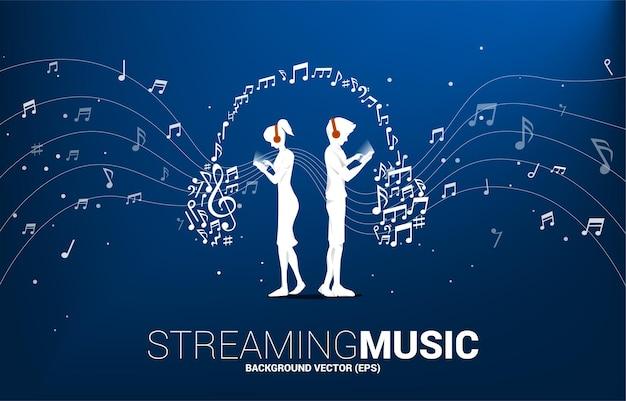 Silhueta de vetor homem e mulher com telefone celular e fone de ouvido do fluxo de dança de nota de melodia de música. fundo do conceito para o tema da música e do concerto.